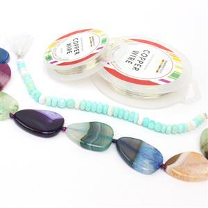Summer Time; 790cts Dyed Multi-colour Agate Puffy Pears, 96cts Multi Colour Opal & Wire