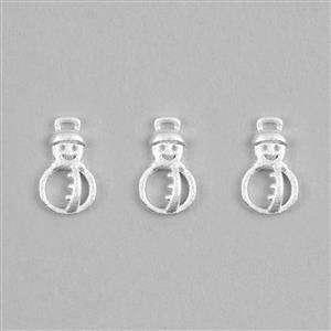 925 Sterling Silver Snowman Charms Approx 10x6  3pcs
