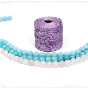 Forget-me-Knot; Frosted Turquoise, Blue-Green Magnesite & Rose Quartz 8mm, S-Lon 0.5mm