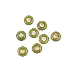 Green Ceramic Donut Beads, 21x6mm (8pk)