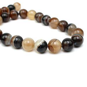 370cts Dyed Antique Yellow Stripe Agate Plain Rounds Approx 12mm, 38cm Strand