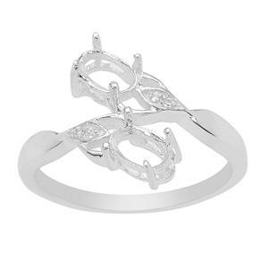 925 Sterling Silver Ring Mount With White Zircon Detail (To fit 6x4mm Oval Gemstone) 2pcs
