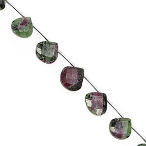 57cts Ruby Zoisite Top Side Drill Faceted Heart Approx 10 to 15mm, 15cm Strand with Spacers