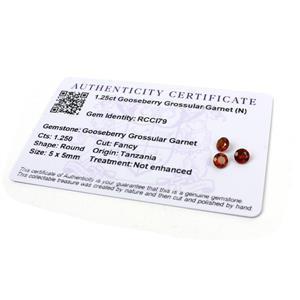 1.25cts Gooseberry Grossular Garnet 5x5mm Round Pack of 3 (N)