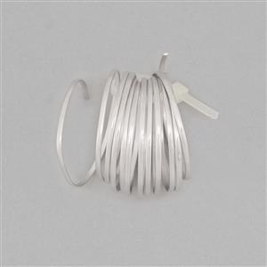 1m 925 Sterling Silver Half-Round Wire With Rhodium Approx 0.6mm