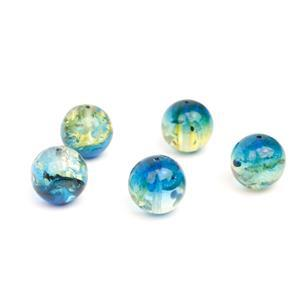 Baltic Sapphire Blue Ombre Amber Rounds Approx. 12mm (5pc)