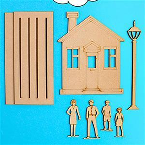 MDF House and Family Set