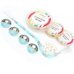 4x Blue Ceramic Donut Beads 37x7mm, Multi Opal, White Round Ceramic Beads 11mm & Wire