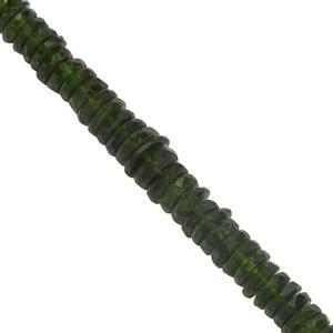 55cts Chrome Diopside Graduated Faceted Wheels Approx 4x1 to 6x1.50mm, 20cm Strand