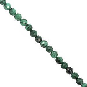 42cts Malachite Graduated Faceted Round Approx 3.50 to 4.50mm, 30cm Strand