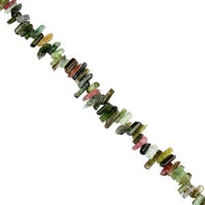 45cts Multi-Colour Tourmaline Graduated Rough Slices Approx 3x2 to 8x3mm, 18cm Strand.