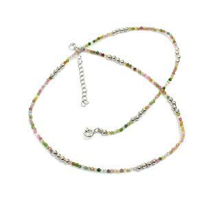 9.29ct Rainbow Tourmaline Sterling Silver Bead Necklace