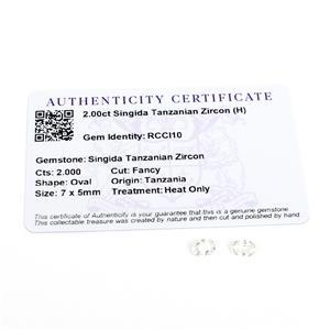 2cts Singida Tanzanian Zircon 7x5mm Fancy Pack of 2 (H)