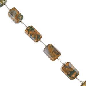 90cts Rhyolite Graduated Faceted Rectangles Approx 12x8 to 15x9mm, 12cm Strand.