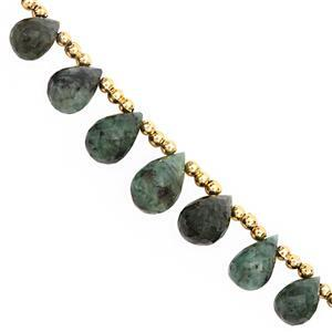 35cts Emerald Top Side Drill Graduated Faceted Drops Approx 9x6 to 14x9mm, 14cm Strand with Spacers