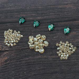 Golden Greens:Swarovski golden flats(12pk),Emerald Drop Stones 2pk x2, 4mm faceted 48pk x2