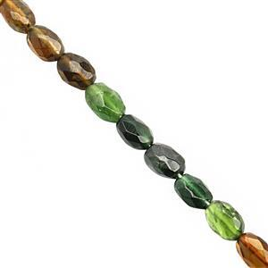 28cts Natural Mix Green Yellow Tourmaline Faceted Oval Approx 6x4.5 to 7x5mm, 19cm Strand
