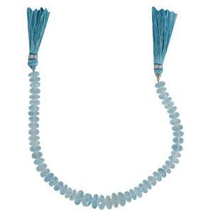 140cts Swiss Blue Topaz Graduated Faceted Rondelles Approx From 7x3 to 10x3mm, 20cm Strand.