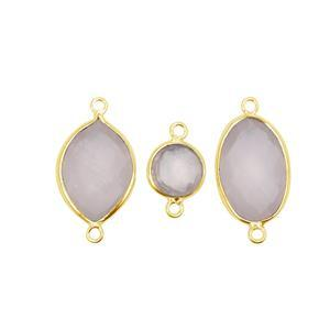 3 x Rose Quartz & Gold Plated 925 Sterling Silver Connectors (Round, Marquise & Oval)