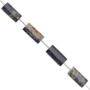 LIMITED EDITION - 175cts Sodalite Faceted Rectangle With Spacers Approx 25x10 to 25x12mm, 30cm Strand
