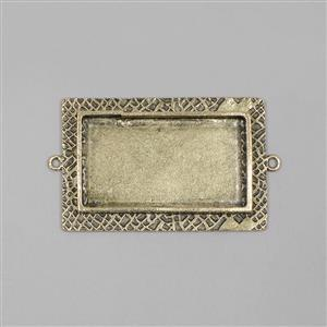 ICE Resin® Antique Bronze Milan Lage Rectangle Bezel with Closed Backs, Approx 42x23mm