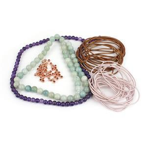 Highland Heather; Leather Cords, Amethyst 6mm Amazonite 8mm, Spacers