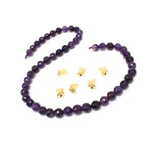 Buddleja; Amethyst Faceted Rounds 8mm, Gold Plated Base Metal Butterfly Spacer Beads