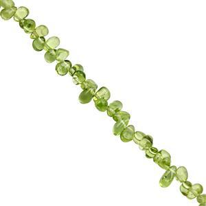 60cts Peridot Top Side Drill Smooth Irregular Drop Approx 3.5x2.5 to 7x4mm, 31cm Strand