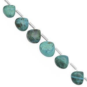 62cts Chrysocolla Top Side Drill Graduated Smooth  Pear  Approx 7 to13mm, 16cm Strand with Spacers