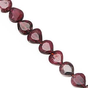 70cts Red Garnet Straight Drill Faceted Heart Approx 5.50 to 7mm, 31cm Strand