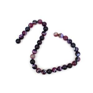 360cts Dyed Purple Stripe Agate Plain Rounds Approx 12mm, 38cm Strand