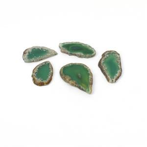 305.00cts Green Agate Slabs Approx 20x45mm Set of 5 Slices, Top Drilled