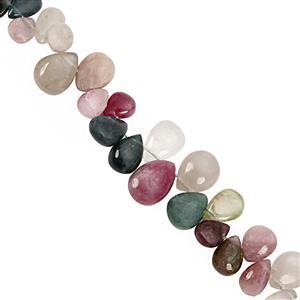 75cts Multi-Colour Tourmaline Smooth Pear Approx 6x5 to 14x11mm, 19cm Strand