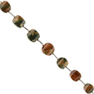 80cts Rhyolite Graduated Plain Fancy Cubes Approx 10x10 to 11x12mm, 12cm Strand.