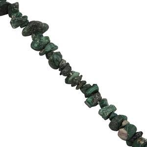 145cts Malachite Small Nuggets Approx 2.25x1.25 to 5.75x3.50mm, 84cm Strand.