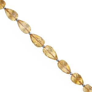 45cts Citrine Straight Drill Graduated Faceted Drop Approx 8x6 to 11x7mm, 17cm Strand with Spacers