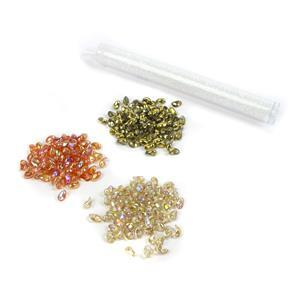 Rainbow: 2x Czech Tulip beads in orange & lemon rainbow shades & amber, crystal AB 11/0s