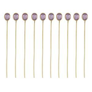 2.25cts Amethyst Gold Flash Sterling Silver Head Pin Oval 4x3mm length 40mm and width 0.50mm (Pack of 10 Pcs.)