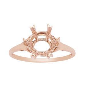 9K Rose Gold Ring Mount (To fit 10mm Snowflake Cut Gemstone)- 1pcs