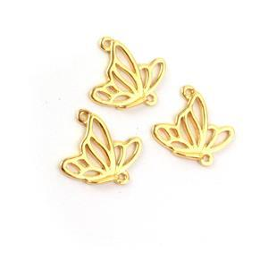Gold Plated 925 Sterling Silver Filigree Butterfly in Flight Connectors Approx 12x14mm 3pcs