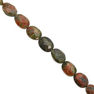 95cts Unakite Center Drill Faceted Oval Approx 8x6.5 to 13.5x9mm, 25cm Strand