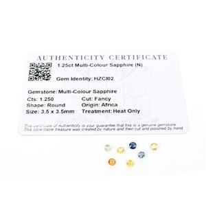 1.25cts Multi-Colour Sapphire 3.5x3.5mm Round Pack of 7 (H)