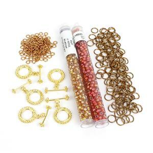 Antique Gold Chainmaille Mini Makes; 3mm & 7mm Jumprings, Toggle Clasps & 6/0