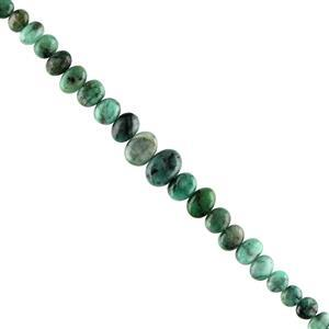 75cts Emerald Graduated Plain Center Drilled Ovals Approx 6X5 to 12X9mm, 18cm Strand.