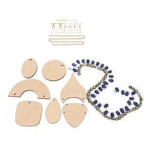 Kit 1; MDF Multi Design Pendant Pack 7pcs, Pyrite Coins, Lapis Pears, Findings