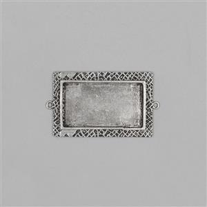 ICE Resin® Antique Silver Milan Medium Rectangle Bezel with Closed Back Approx ID 35x20mm