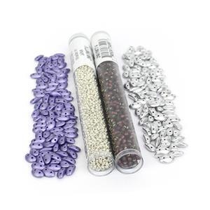 Galactic; Czech MobyDuo Metallic Violet & Aluminium Silver Approx 3x8mm  Miyuki 8/0, 11/0