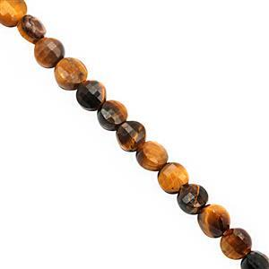 22cts Tigers Eye Faceted Puffy Coin Approx 4mm, 29cm Strand