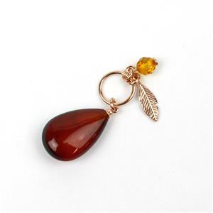 Baltic Cherry Amber Rose Gold Plated Sterling Silver Pendant, Approx. 38mm