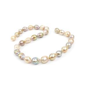 Mixed Colour Freshwater Cultured Nucleated Drop Pearls Approx 11-12mm, 38cm Strand